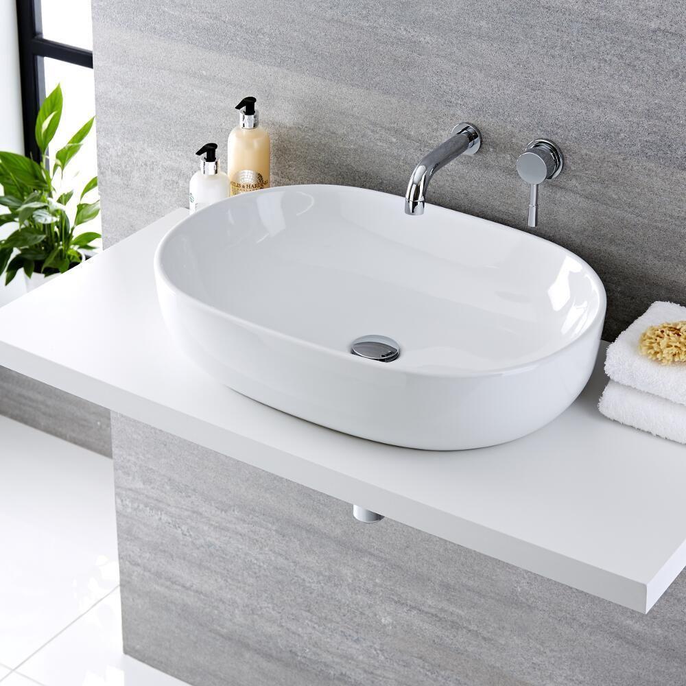 Lavello Bagno Da Appoggio lavabo bagno da appoggio ovale 590x410mm in ceramica con rubinetto  miscelatore per lavabo- otterton