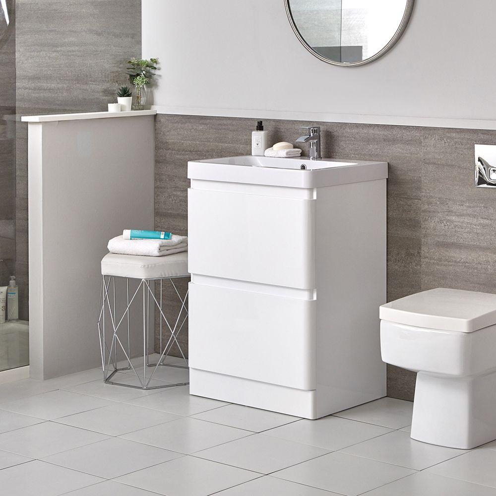 Armadietto Bagno Moderno mobile bagno moderno da terra colore bianco 600mm con lavabo - daxon