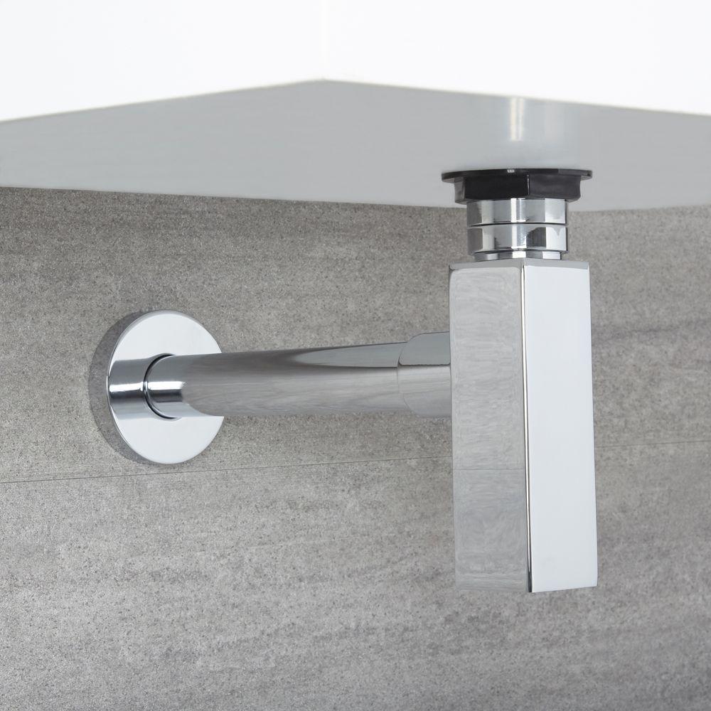 Tubo Scarico Lavandino Bagno sifone a bottiglia di scarico quadrato con tubo estensibile per lavabo e  vasca