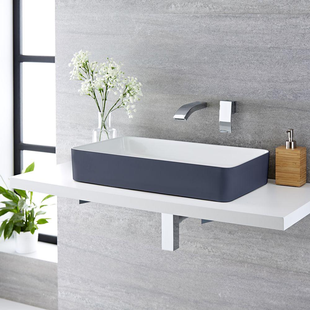 Piano Per Lavabo Da Appoggio lavabo da appoggio rettangolare 610x350mm ceramica di colore grigio pietra  perfetto per qualsiasi soprapiano - witton