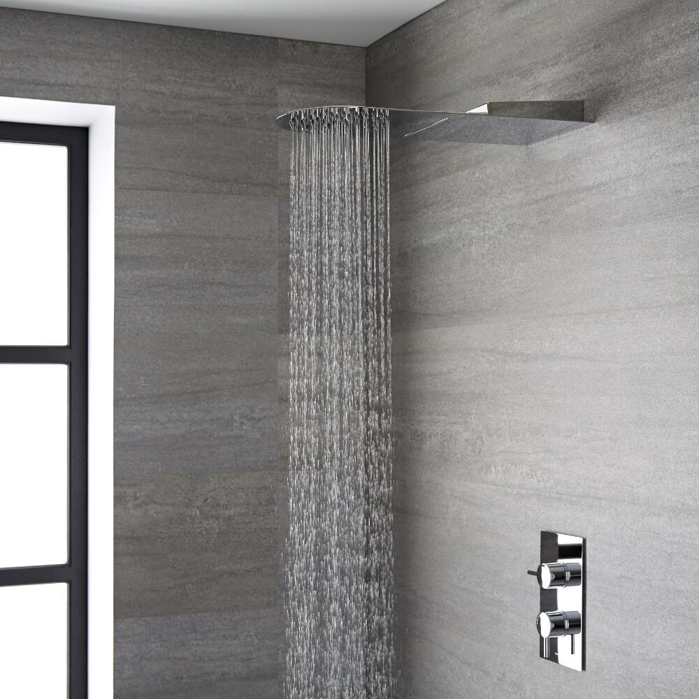 Hudson Reed Miscelatore Termostatico Cromato ad Incasso con Design Moderno e 3 Manopole Quadrate 3 Vie
