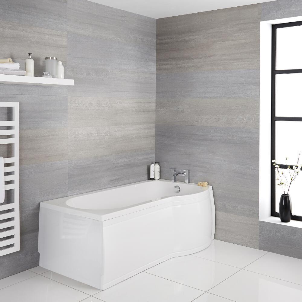 Vasca Da Bagno Misure Standard vasca da bagno asimmetrica angolare destra acrilica 85x167,5cm completa di  pannello vasca frontale e pannello vasca laterale