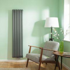 Radiatore di Design Verticale Doppio con Attacco Centrale - Antracite - 1600mm x 354mm x 78mm - 1289 Watt - Revive Caldae