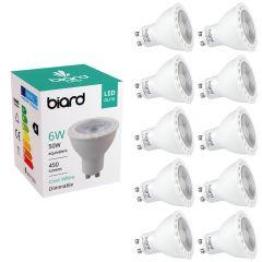 Biard Set 10x Faretti Spot LED da Soffitto Dimmerabile 6W Equivalente a 50W