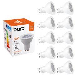 Biard Set 10x Faretti Spot LED GU10 da Soffitto Dimmerabili 8W Equivalente a 50W