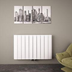 Radiatore di Design Orizzontale con Attacco Centrale - Alluminio - Bianco - 600mm x 945mm x 46mm - 1279 Watt – Aurora