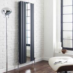 Radiatore di Design Verticale con Specchio - Acciaio - Revive Antracite - 1613 Watt - 1800mm x 499mm
