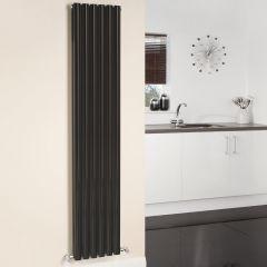 Radiatore di Design Verticale Doppio - Nero Lucido - 1780mm x 354mm x 78mm - 1401 Watt - Revive
