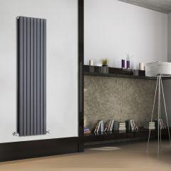 Radiatore di Design Verticale Doppio - Antracite - 1600mm x 472mm x 72mm - 1591 Watt - Sloane