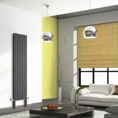 Radiatore di Design Verticale Doppio con Piedini di Supporto - Antracite - 2000mm x 472mm x 78mm - 1868 Watt - Revive Plus
