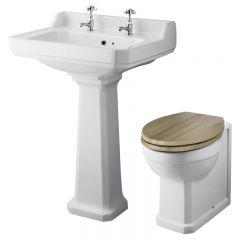 Set Bagno Completo di Lavabo e Sanitario Tradizionale con Scelta di Sedili Copri WC