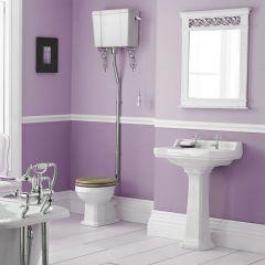 Set Bagno Completo di Lavabo e Sanitario Retro con Cassetta Alta e Scelta di Sedili Copri WC