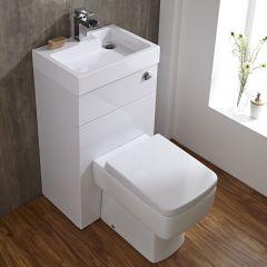 Set Bagno Completo di Lavabo Minimal e Sanitario Integrato Colore Bianco