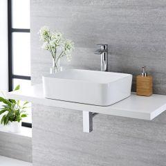 Lavabo Bagno da Appoggio Rettangolare in Ceramica  480x370mm con Rubinetto Miscelatore Alto - Alswear