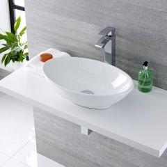 Lavabo Bagno da Appoggio in ceramica Ovale 520x320mm con Rubinetto Miscelatore - Kenton