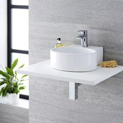 Lavabo Bagno da Appoggio Sospeso in Ceramica Ovale 345x330mm con Rubinetto Miscelatore
