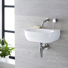Lavabo Bagno da Appoggio o Sospeso in Ceramica Ovale 420x280mm - Langtree