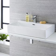 Lavabo Bagno da Appoggio Sospeso in Ceramica Rettangolare 750x420mm Con Mini Rubinetto Miscelatore - Sandford