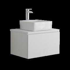 Mobile Bagno 600mm Colore Bianco Opaco con Lavabo da Appoggio - Newington