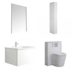 Mobile Bagno 600mm Colore Bianco Opaco Completo di Cassetta , Sanitario, Lavabo, Colonna Bagno Murale e Specchio - Newington  - Matt White