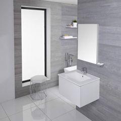 Mobile Bagno Murale 600mm con Lavabo Integrato Colore Bianco Opaco Disponibile con Opzione LED - Newington