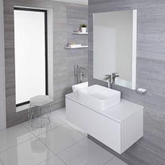 Mobile Bagno Murale 1000mm Colore Bianco Opaco con Lavabo da Appoggio Disponibile con Opzione LED - Newington