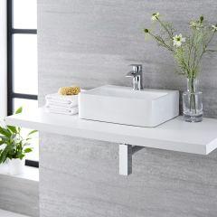 Lavabo Bagno da Appoggio Sospeso in Ceramica Rettangolare 400x295mm con Rubinetto Miscelatore - Exton