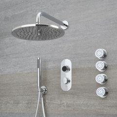 Doccia Digitale con Sistema di Controllo a 3 Vie con Soffione Doccia Circolare 300mm, 4 Idrogetti e Doccetta - Narus