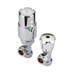 Paio di Valvole Termostatiche a Squadra Per Radiatore e Scaldasalviette per Tubi in Rame 15mm