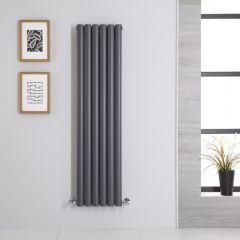 Radiatore di Design Verticale Doppio - Antracite - 1400mm x 354mm x 78mm - 1044 Watt - Revive