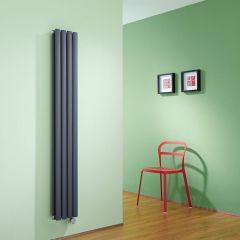 Radiatore di Design Elettrico Verticale Doppio - Antracite - 1600mm x 236mm x 78mm  - 1 Elemento Termostatico 1200W  - Revive