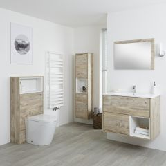 Set Bagno Colore Rovere Chiaro Completo di Mobile Lavabo 800mm, Mobile Murale 1500mm,  Mobile WC, Specchio, Lavabo, Sanitario e Cassetta - Hoxton