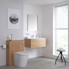 Mobile WC 800mm Colore Rovere Dorato per Stanza da Bagno Completo di Sanitario Sospeso, Cassetta e Lavabo Disponibile con Opzione LED - Newington