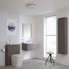 Mobile Bagno 600mm Colore Grigio Opaco Completo di Cassetta , Sanitario, Lavabo, Colonna Bagno Murale e Specchio Disponibile con Opzione LED - Newington