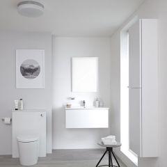 Mobile Bagno 800mm Colore Bianco Opaco Completo di Cassetta , Sanitario, Lavabo, Colonna Bagno Murale e Specchio Disponibile con Opzione LED - Newington