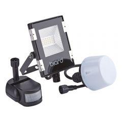 Biard Faro Proiettore Piatto Nero 10W con Sensore PIR o Sensore Crepuscolare