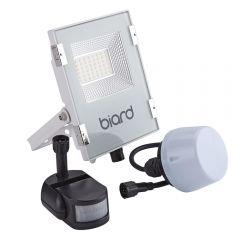Biard Faro Proiettore Piatto Bianco 20W con Sensore PIR o Sensore Crepuscolare