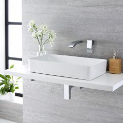 Lavabo Bagno da Appoggio Rettangolare in Ceramica 640x350mm con Rubinetto Miscelatore per Lavabo - Alswear
