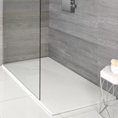 Piatto Doccia Rettangolare Effetto Pietra Colore Bianco Opaco 1100x700mm