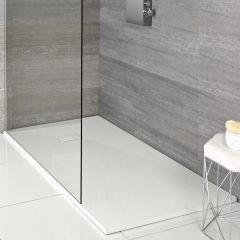 Piatto Doccia Rettangolare Effetto Pietra Colore Bianco Opaco 1200x900mm