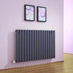Radiatore di Design Elettrico Orizzontale - Antracite - 635mm x 1000mm x 55mm  - Elemento Termostatico 1000W  - Revive