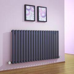 Radiatore di Design Elettrico Orizzontale - Antracite - 635mm x 1180mm x 56mm  - 2 Elementi Termostatici 800W  - Revive