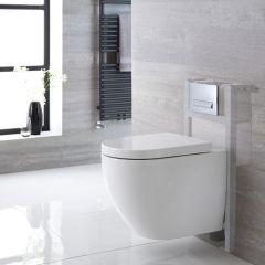 Sanitario Bagno WC Ovale Sospeso Completo di Coprivaso, Telaio con Cassetta ad Incasso con Placca di Comando per WC A Doppio Pulsante -  Ashbury