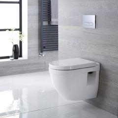 Sanitario Bagno WC  Quadrato Sospeso 400x360x515mm Completo con Sedile Copri WC Soft Close, Telaio con Cassetta ad Incasso con Placca di Comando per WC A Doppio Pulsante - Belstone