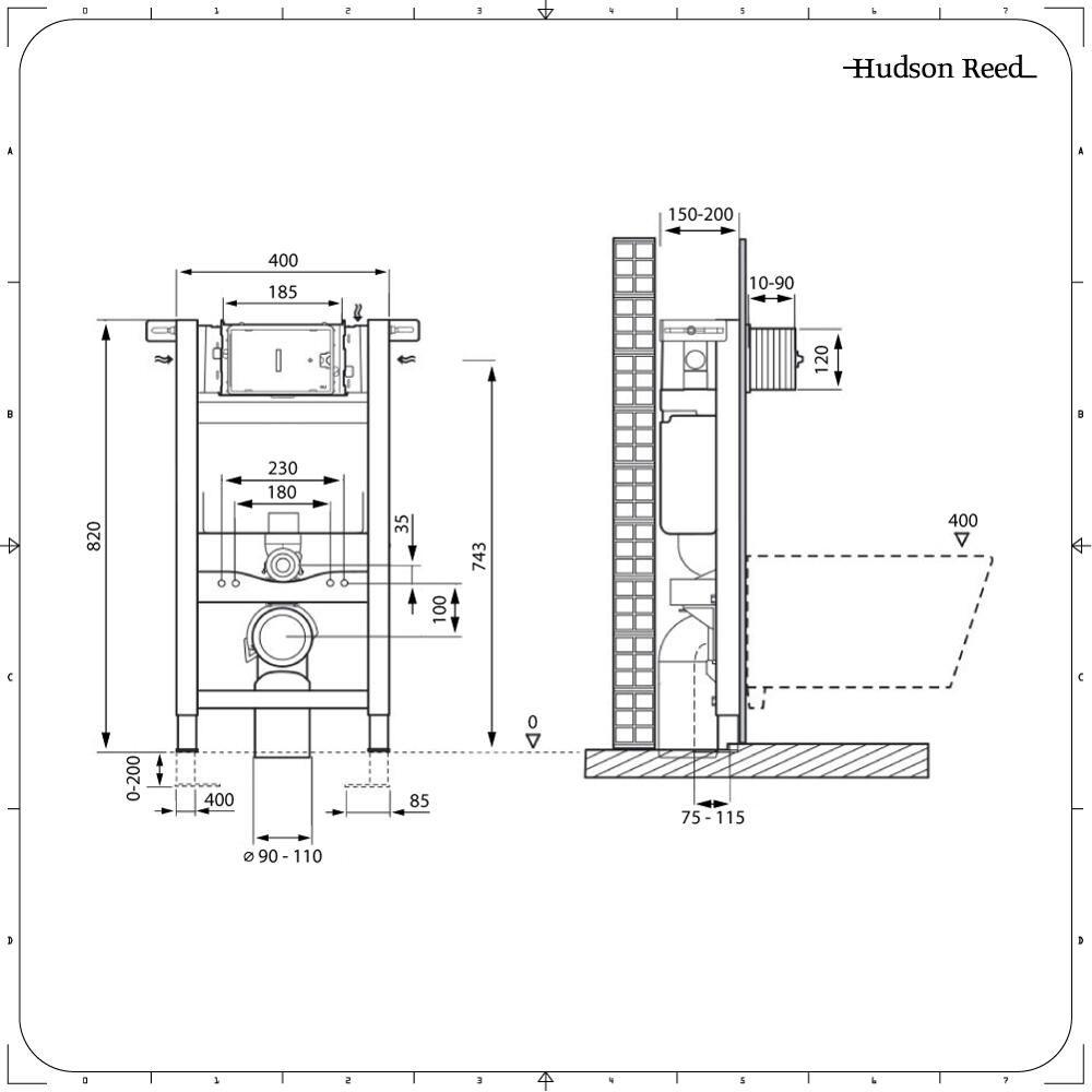 Altezza Placca Wc kit wc con telaio per cassetta 820x400mm per sanitari sospesi ad incasso
