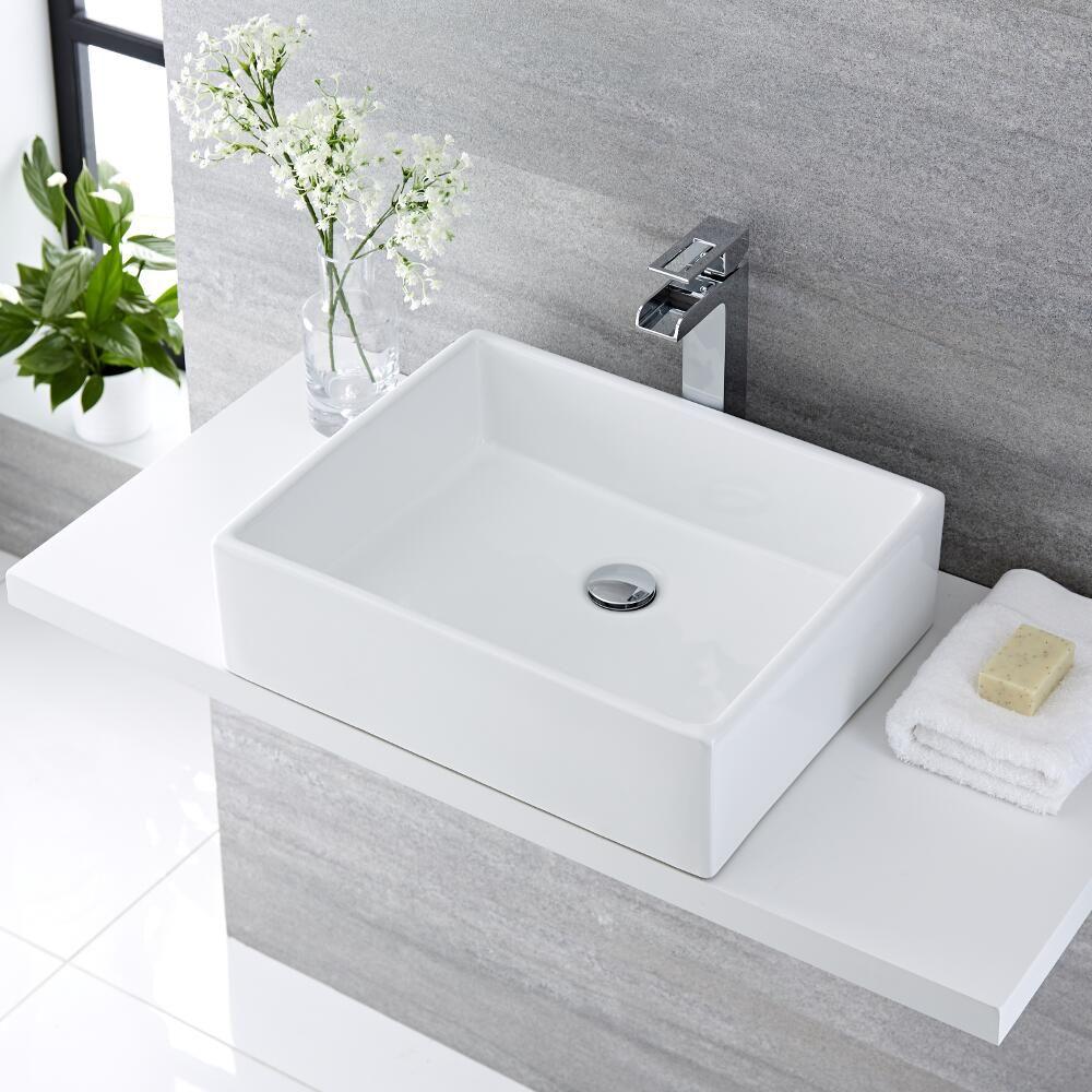 Lavello Bagno Da Appoggio lavabo bagno da appoggio quadrato in ceramica 490x390mm con rubinetto  monoforo - haldon