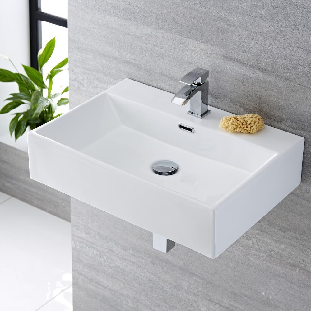Tubo Scarico Lavandino Bagno lavabo bagno da appoggio rettangolare in ceramica 600x420mm - sandford