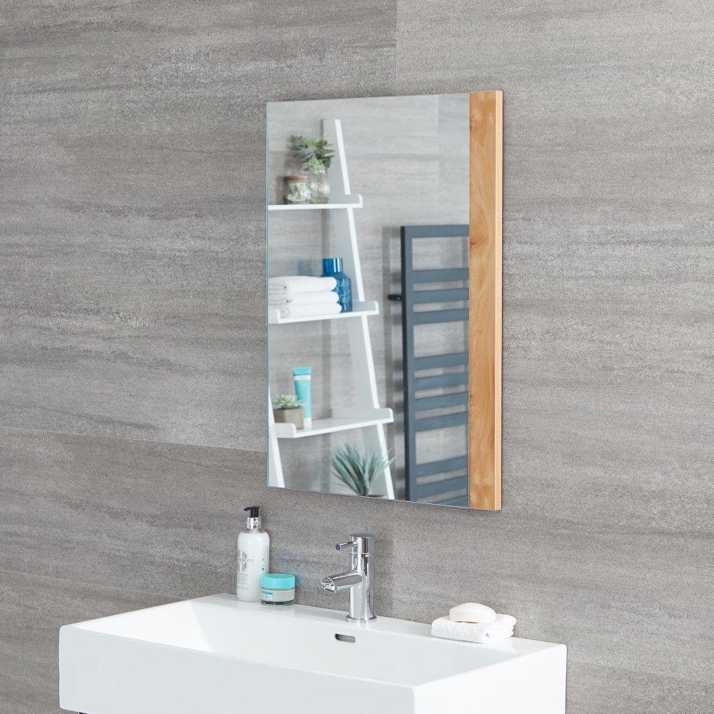 Specchio Per Lavandino Angolare specchio bagno murale 500x700mm colore rovere dorato - newington