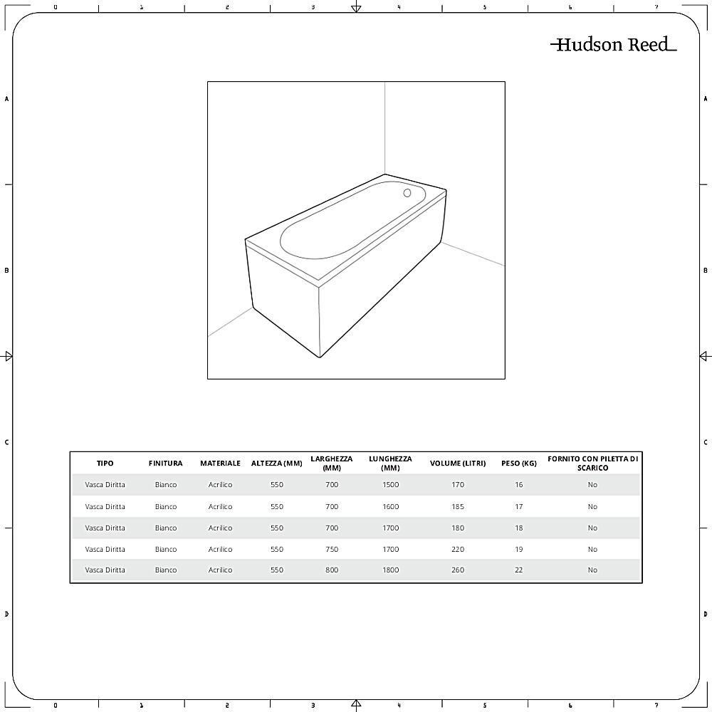 Vasca Da Bagno Misure Standard vasca da bagno rettangolare standard - disponibile in diverse misure -  sandford