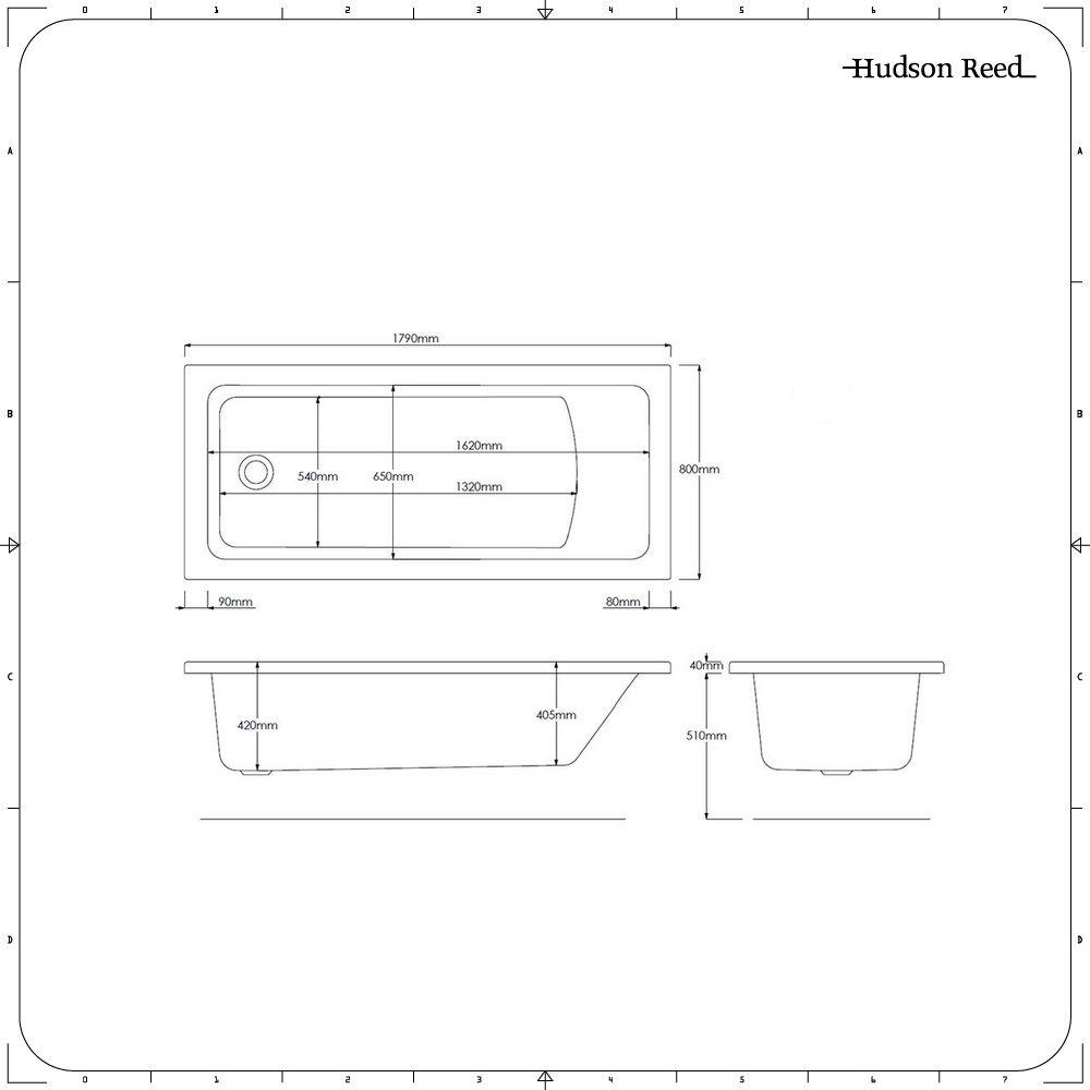 Bagno 2 X 2 vasca da bagno rettangolare senza pannello vasca - 1800 x 800 mm
